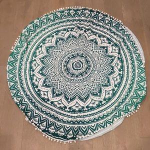 "Other - NEW Green Ombré Tapestry w/Pom Poms - 56"" Round"